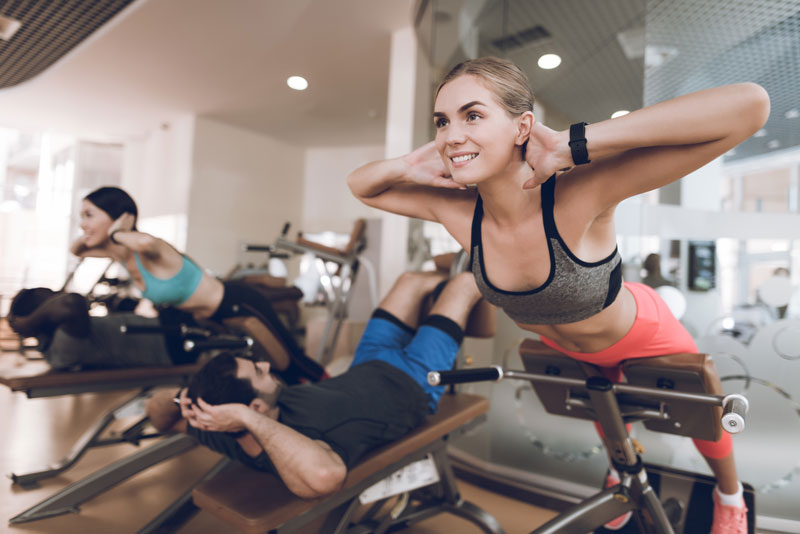 athletes are engaged in modern gym