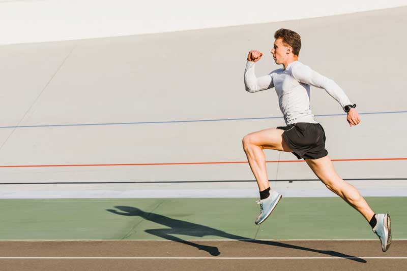 athlete running with copy space
